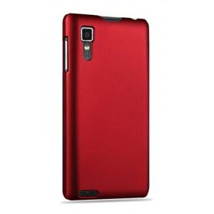 Пластиковый матовый непрозрачный Металлик чехол для Lenovo P780 Красный