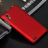 Пластиковый матовый непрозрачный чехол для Lenovo P780 Красный