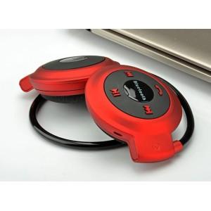 Беспроводные bluetooth 4.0 складные ультралегкие 40 гр наушники с функцией гарнитуры, регулятором громкости и поддержкой карт памяти MicroSD Красный