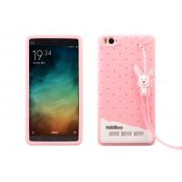 Силиконовый дизайнерский фигурный чехол с шнурком для Xiaomi Mi4i Розовый