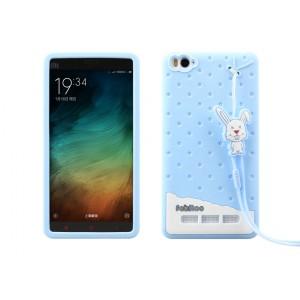 Силиконовый дизайнерский фигурный чехол с шнурком для Xiaomi Mi4c Синий
