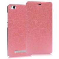 Текстурный чехол флип подставка на присоске для Xiaomi Mi4i Розовый