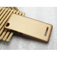 Пластиковый матовый металлик чехол для Xiaomi Mi4i Бежевый