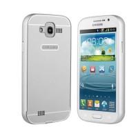 Двухкомпонентный чехол металлический бампер и поликарбонатная накладка с отверстием для лого для Samsung Galaxy Grand Серый