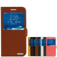 Чехол флип подставка на пластиковой основе с окном вызова для Samsung Galaxy E5