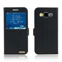 Чехол флип подставка на пластиковой основе с окном вызова для Samsung Galaxy E5 Черный