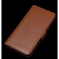 Кожаный чехол портмоне подставка (нат. кожа крокодила) для HTC One E9+ Коричневый