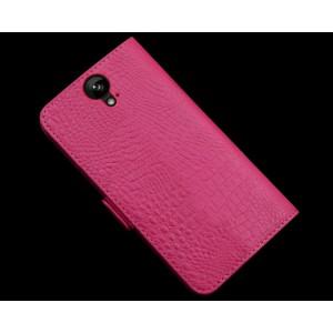Кожаный чехол портмоне подставка (нат. кожа крокодила) для HTC One E9+ Пурпурный