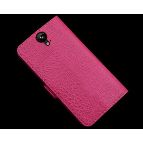 Кожаный чехол портмоне подставка (нат. кожа крокодила) для HTC One E9+