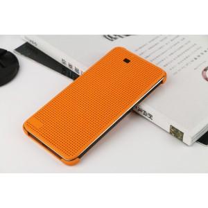 Точечный чехол смарт флип с функциями оповещения на пластиковой основе для HTC One E9+ Оранжевый