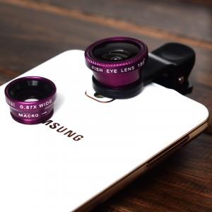 Набор внешних линз из 3 шт (Макросъемка, fish eye, широкоугольная съемка) на клипсе Фиолетовый