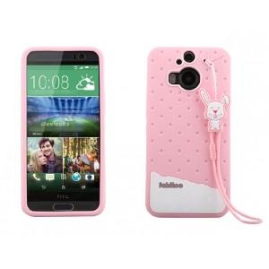 Силиконовый дизайнерский фигурный чехол с шнурком для HTC One M9+ Розовый