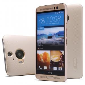 Пластиковый матовый нескользящий премиум чехол для HTC One M9+ Бежевый
