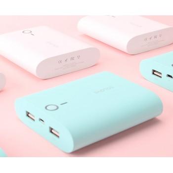Портативное зарядное устройство 10000mAh с 2 USB-разъемами (1А, 2.1А) и софт-тач покрытием дизайн Макарони