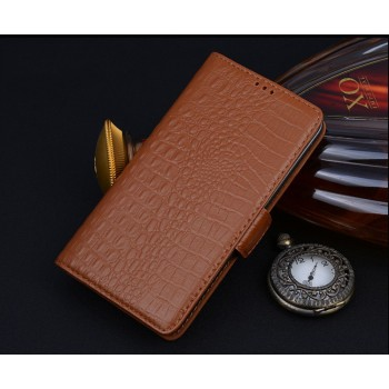 Кожаный чехол портмоне подставка (нат. кожа крокодила) для HTC One M9+