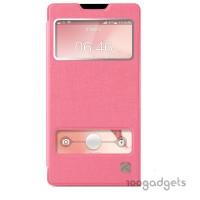 Чехол флип со свайпом и окном вызова для Huawei Ascend G700 Розовый