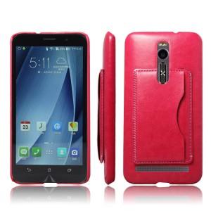 Кожаный чехол накладка с отделением для карт для ASUS Zenfone 2 5.5 Розовый