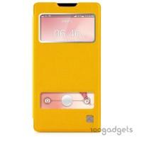 Чехол флип со свайпом и окном вызова для Huawei Ascend G700 Желтый