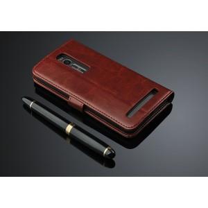 Чехол портмоне подставка с защелкой для Asus Zenfone 2 Коричневый