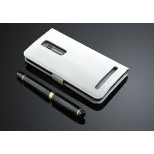 Чехол портмоне подставка с защелкой для Asus Zenfone 2 Белый