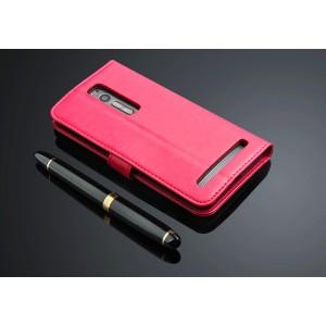 Чехол портмоне подставка с защелкой для Asus Zenfone 2 Розовый