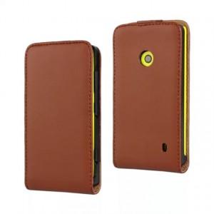 Чехол вертикальная книжка на пластиковой основе с магнитной застежкой для Nokia Lumia 520 Коричневый