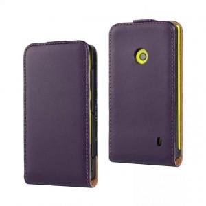 Чехол вертикальная книжка на пластиковой основе с магнитной застежкой для Nokia Lumia 520 Фиолетовый