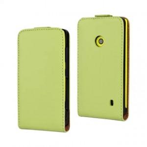 Чехол вертикальная книжка на пластиковой основе с магнитной застежкой для Nokia Lumia 520 Зеленый