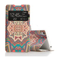 Чехол флип подставка текстурный с окном вызова для Sony Xperia Z2