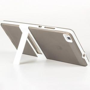Двухкомпонентный силиконовый чехол с пластиковым каркасом-подставкой для Huawei P8 Серый