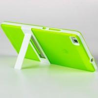 Двухкомпонентный силиконовый чехол с пластиковым каркасом-подставкой для Huawei P8 Зеленый