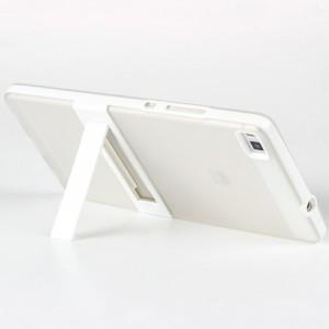 Двухкомпонентный силиконовый чехол с пластиковым каркасом-подставкой для Huawei P8 Белый