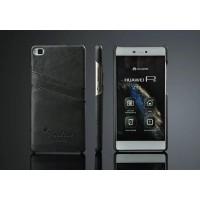 Дизайнерский кожаный чехол накладка с отделениями для карт для Huawei P8 Черный