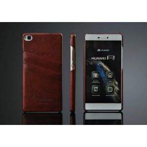Дизайнерский кожаный чехол накладка с отделениями для карт для Huawei P8 Коричневый