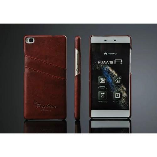 Дизайнерский кожаный чехол накладка с отделениями для карт для Huawei P8