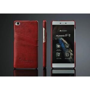 Дизайнерский кожаный чехол накладка с отделениями для карт для Huawei P8 Красный