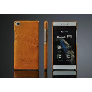 Дизайнерский кожаный чехол накладка с отделениями для карт для Huawei P8 Бежевый