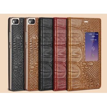 Кожаный чехол флип портмоне подставка с окном вызова (нат. кожа крокодила) для Huawei P8