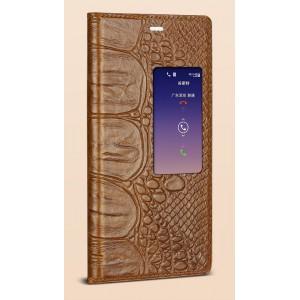 Кожаный чехол флип портмоне подставка с окном вызова (нат. кожа крокодила) для Huawei P8 Коричневый