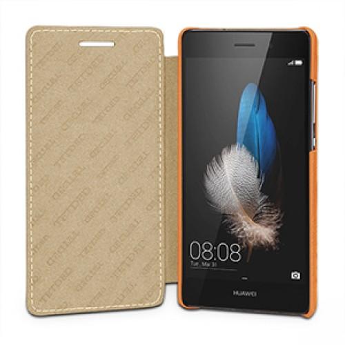 Кожаный чехол горизонтальная книжка (нат. кожа) для Huawei P8 Lite