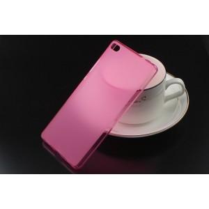 Силиконовый матовый полупрозрачный чехол для Huawei P8 Розовый