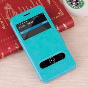 Чехол флип подставка на пластиковой основе с окном вызова и свайпом для Acer Liquid Z520 Голубой