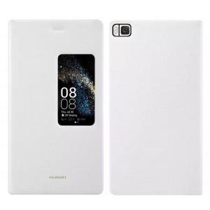 Оригинальный чехол смарт флип на пластиковой основе с окном вызова для Huawei P8 Белый