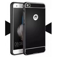 Двухкомпонентный чехол с металлическим бампером и поликарбонатной накладкой с отверстием для лого для Huawei P8 Черный