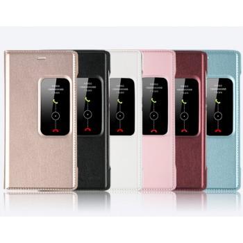 Чехол смарт флип подставка с окном вызова на пластиковой основе для Huawei P8