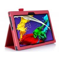 Чехол подставка с рамочной защитой и внутренними отсеками для Lenovo Tab 2 A10-70/Tab 3 10 Business Красный