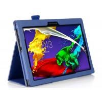 Чехол подставка с рамочной защитой и внутренними отсеками для Lenovo Tab 2 A10-70/Tab 3 10 Business Синий