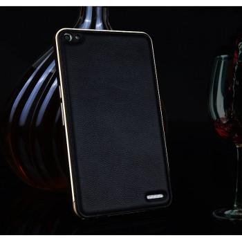 Двухкомпонентный гибридный чехол с металлическим бампером и кожаной накладкой (нат. кожа) для Huawei MediaPad X2