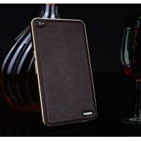 Двухкомпонентный гибридный чехол с металлическим бампером и кожаной накладкой (нат. кожа) для Huawei MediaPad X2 Коричневый