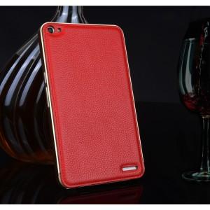 Двухкомпонентный гибридный чехол с металлическим бампером и кожаной накладкой (нат. кожа) для Huawei MediaPad X2 Красный